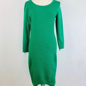 Karen Mullen Knit Dress UK 3 Green Knit Body Con